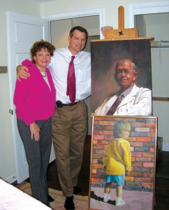 L to R: Andrea Parks and her brother, Dr. Ted Parks, are both artists. The surgeon created both these oil paintings. The top painting is a portrait of Dr. Fred Teal, his mentor and the senior partner of Western Orthopaedics.