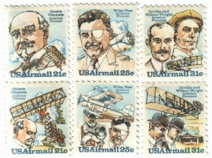 Octave Chanute (top left), an American civil engineer, improved on Otto Lilienthal's glider designs. While in his 60s, he collected and disseminated aviation information. The Postal Service honored him and his biplane hang glider on a pair of stamps 1979.