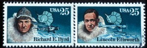 Richard E. Byrd and Lincoln Ellsworth, both Antarctic explorers, were featured on mated stamps. Henry Ford's Tri-Motor was on Byrd's stamp, and Ellsworth's Northrop Gamma was pictured on his. The Ford Tri-Motor received its own stamp in 1997.