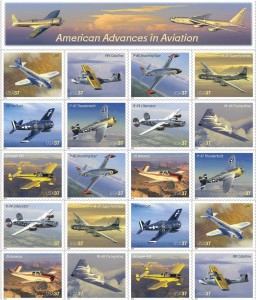 The second 20-stamp aviation commemorative sheet was issued in July 2005. It featured a mix of civilian and military airplanes, and for the first time, showed two of the heavy bombers that helped win the war.