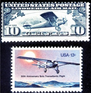 Charles Lindbergh's transatlantic solo flight was commemorated shortly after his flight, and again 50 years later. The Ryan airplane is one of the few planes that appear more than once on a stamp.