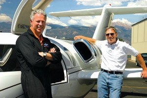 Test pilot Ron McElroy (left) and Excel-Jet owner Bob Bornhofen relax after a successful morning of flight-testing the Sport-Jet.