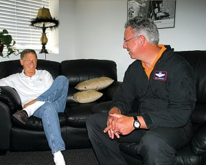 02 Sport-Jet designer Bob Bornhofen (left) and test pilot Ron McElroy discuss the day's flight. They both have a lot to be pleased about.