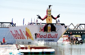 "The ""Dipsomaniacal Devils,"" a 30-foot tall replica of Sparky, the ASU Sun Devils mascot, was the tallest Flugtag entry."