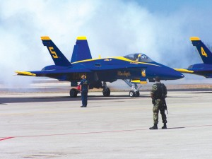 Lt. Cdr. Ted Steelman flew a fighter/attack F/A-18 Hornet for the U.S. Navy Blue Angels air demonstration team. Built by Boeing in conjunction with the Northrop Grumman and Hughes Corp, the Hornet is powered by two General Electric F 404 jet engines.