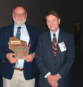 James Hansford (left), honored with the Lifetime Achievement Award, served as the airport manager at Central Wisconsin Airport (CWA) for more than 23 years. Hansford is shown with Bob Kunkel, the retired director of the WisDOT Bureau of Aeronautics.