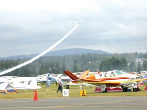 Rows of colorful aircraft in various shapes, sizes and colors fill acres of grass parking space at the 2005 NWEAA Fly-In, while thousands of visitors watch an afternoon air show.