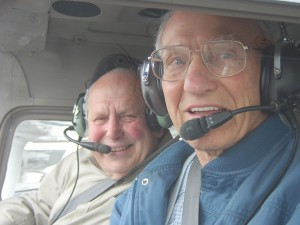 L to R: Northway flight instructor Joseph Bennett, 75, and his student, Cliff Garl, 91, prepare to depart Paine Field on another flight lesson.