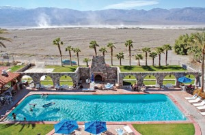 "Salt devils"" and the Panamint Mountains dominate views from the Furnace Creek Inn."