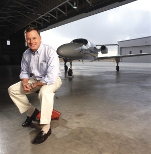 Left: Rick Adam, founder of Adam Aircraft, relaxes in one of the company's Centennial Airport hangars with the A700 AdamJet.
