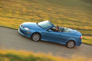 Jay Spenchian's commitment to Saab extends to driving a new, electric-blue convertible 9-3 Aero.