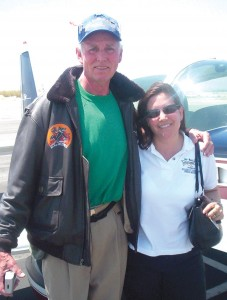 "Lee ""Stretch"" Auger, who took up both rear seats, thanked Anne Marie ""Tiger"" Radel for the flight just before we returned from General William J. Fox Airfield to Whiteman Airport."