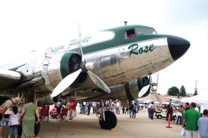 Long lines of people waited to look inside this classic Douglas DC-3, Rose, which flew in from its base in Corona, Calif. Rose is available for scenic flights and type certification.