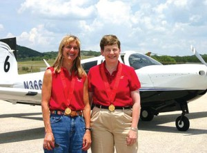 The Classic 6 team of Mooney CEO Gretchen Jahn (right) and Carol Foy won the race, flying Jahn's 2005 Mooney M2OR Ovation 2GX.