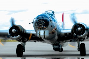 Aluminum Overcast, at Centennial Airport June 9-11, courtesy Wings Over the Rockies Air & Space Museum and the Experimental Aircraft Association, prepares to take passengers for a 20-minute ride.