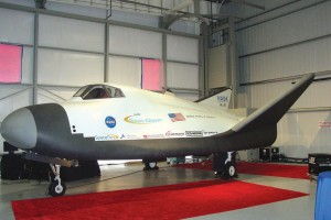 SpaceDev brought its full-size mock-up of the Dream Chaser spacecraft to Centennial Airport as part of its presentation to NASA.