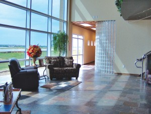 PHAZAR Flight Support's new lobby offers bright views in a luxury setting.