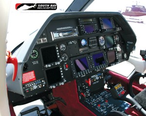 The interior of the Augusta 109 Power shows off a roomy, comfortable aircraft with state-of-the-art avionics.