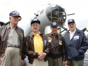 World War II B-17 veterans, Ted Johnston, 82, 600th Squadron, pilot, resident of Seattle; Ike Alhadeff, 90, 600th Squadron, pilot, Seattle; Russ Reed, 82, 603rd Squadron, pilot, Port Ludlow; and Allen Ostrom, 85, 603rd Squadron, tail gunner, Seattle.