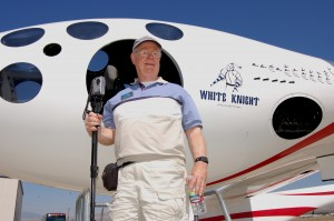 Keith Ferris, one of the original five founders of the ASAA, was able to view the White Knight, the jet-powered carrier aircraft used to launch SpaceShipOne, during the group's tour of Mojave Airport.