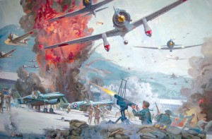 "One of a series of paintings Robert McCall produced promoting the 1970 blockbuster movie ""Tora! Tora! Tora!"" clearly shows the intensity of the attack on Wheeler Field."