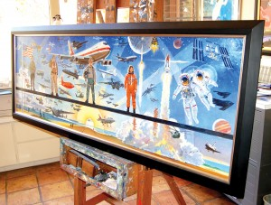 Robert McCall painted this Centennial of Flight master study, which contains more aircraft than the larger original mural on display at the NASA Dryden Flight Research Center.