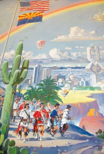 "Robert McCall uses rainbows, such as this one in ""The Spirit of Arizona"" mural, to symbolize happiness and prosperity."