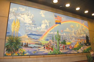 "Robert McCall's ""Spirit of Arizona"" mural—a panorama of the history of Arizona, past, present and future—can be viewed in the lobby of the Industrial Commission Building, located in the downtown area of Phoenix."