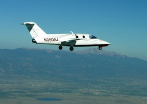 The Sport-Jet shown over Colorado Springs in one of its nearly flawless test flights.