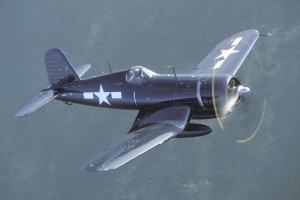 John Lane Jr., founder of Airpower Unlimited, has established an international reputation for exquisite restorations of World War II fighter planes, like this Corsair that Lane is flying.