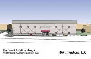 This drawing by Jehn Engineering envisions Amjet's new 29,000-square-foot hangar, which will be occupied by Star West Aviation.