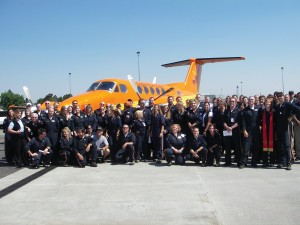 The crews and support staff from Flight For Life Colorado in front of the King Air.