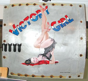 The twin sisters decided to use Victory Girl for their company logo. The nose art originally was on the nose of a WWII B-29.