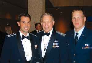2006 Top Gun Capt. Brad Orgeron with Brig. Gen. Steve Ritchie and his son, Lance Ritchie.