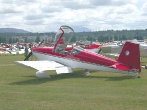 This shiny, red kit-built Vans ACFT RV-6 is one of the Black Jack Squadron's many planes based at Arlington Airport. The group of civilian pilots practice formation flying there for air shows throughout the year.