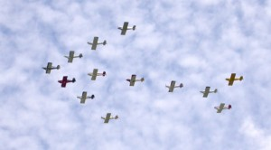 "The Blackjack Squadron's 13-plane ""arrow"" formation, was surpassed this year by its 20-plane formation that may have set a world record. The Arlington-based group is the world's largest civilian formation flying organization."