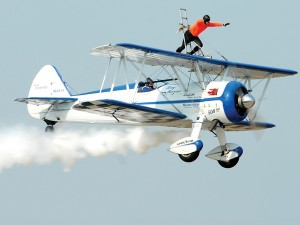 Dave Dacy pilots the Super Stearman for wing walker Tony Kazian.