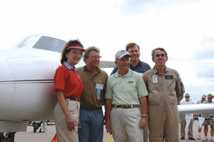 L to R: FAA Administrator Marion Blakey, Diamond Aircraft CEO Christian Dries, EAA President Tom Poberezny, Diamond Aircraft President Peter Maurer and D-Jet test pilot Anthony Brown in front of the D-Jet.