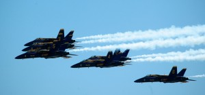 The Blue Angels made several formation flybys on July 28.