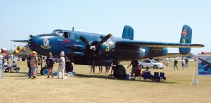 """Devil Dog,"" a North American B-25, was among the many aircraft in the warbird area."