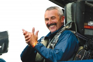Country music star Aaron Tippin is all smiles following his VIP ride in a Blue Angels FA-18.