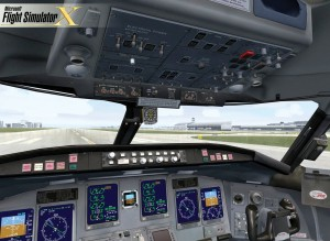 This is a screen shot of the virtual cockpit of a Bombardier Canadair CRJ700. The graphics look more realistic on a 30-inch or larger flat screen.