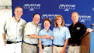 After accepting her grant, Lesley A. Weitz (second from right) poses with, L to R, Erik Lindbergh, John and Martha King and Ian Walsh, vice president and eneral manager of Lycoming.