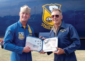Harrison Ford received a keepsake to remind him of his memorable VIP flight with the Blue Angels.
