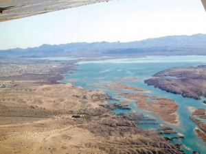 Lake Havasu widens the Colorado River not far from Needles, Calif.