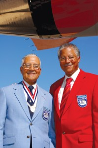 L to R: Tuskegee Airman Charles McGee, 87, was accompanied by his son Ronald McGee for the ceremony at Luke AFB.