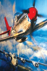"The ""Red-Tailed Angels,"" a painting by artist John Shaw, depicts a red-tailed P-51 of the Tuskegee Airmen escorting a lone B-24 bomber that has become a straggler after losing two engines."