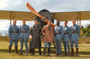 L to R: Tyler Labine (Briggs Lowry), David Ellison (Eddie Beagle), Martin Henderson (Cassidy), James Franco (Blaine Rawlings), Abdul Salis (Skinner), Keith McErlean (Toddman) and Philip Winchester (Jensen) portray members of the Lafayette Escadrille.