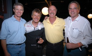 "Tony Bill (right) visits with, L to R, Ron Kaplan, Sean Tucker and Kermit Weeks at the AirVenture premiere of ""Flyboys."""