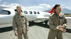 Pilots Nathan Forrest (left) and Glenn Maben, shown after a test flight of the Spectrum 33, perished when the plane crashed during a flight in July.